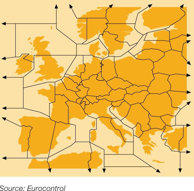 Фрагментираното европейско небе. Изт: Lufthansa/Eurocontrol