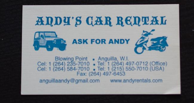 Визитката на Анди от Ангила