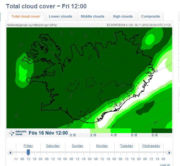 Облачна покривка над Исландия