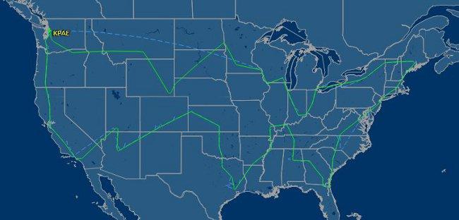 Полет на Boeing 747-800. Изт: flightaware