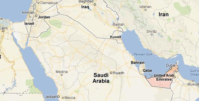 Карта на Арабския полуостров. Изт: google maps
